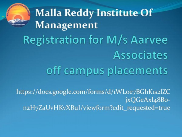 "off campus placements  ""M S Aarvee Associates"""