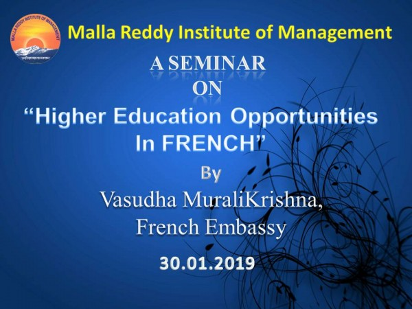 A Seminar On Higher Education Opportunities In FRENCH