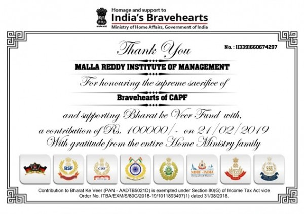 DONATIONS FOR BRAVE HEARTS OF PULVAMA MARTYS