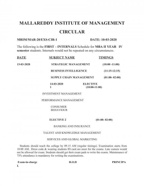 NOTICE FOR FIRST INTERNALS FOR SEM-4